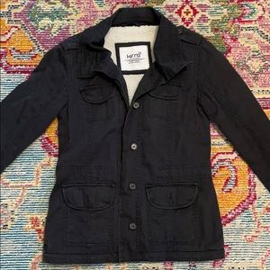 Navy blue button up jacket with sherpa lining